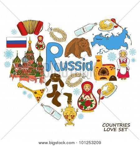 Russian Symbols In Heart Shape Concept