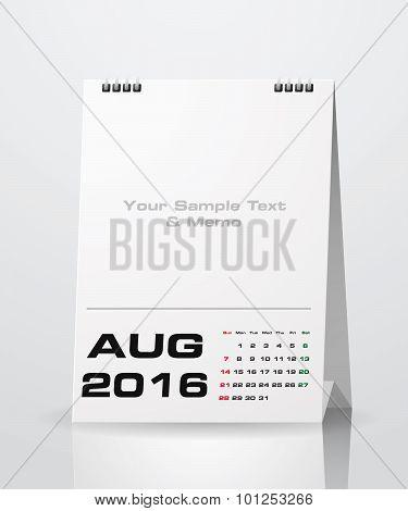 August 2016 Calendar.