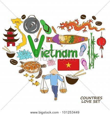 Vietnamese Symbols In Heart Shape Concept