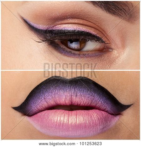Collage Of Eye And Lips With Pink Make Up