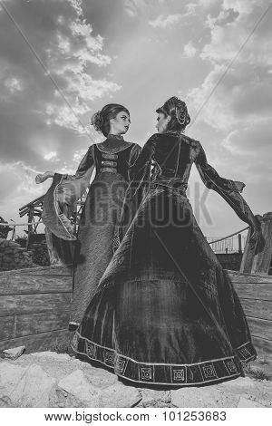 Two Woman In Aristocratic Vintage Outfit On Boat