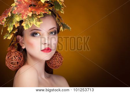 Sensual Woman With Leaves In Head