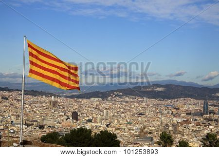 Flag Of Catalonia In Montjuic Castle, Barcelona, Catalonia, Spain