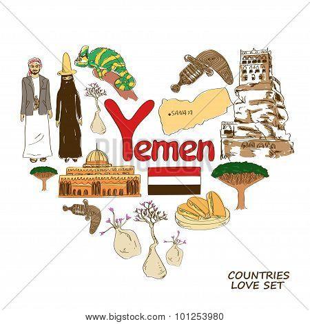 Yemen Symbols In Heart Shape Concept