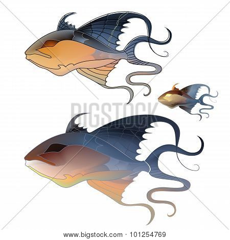 Fabulous illustration of fantastic fish delicate purple shades