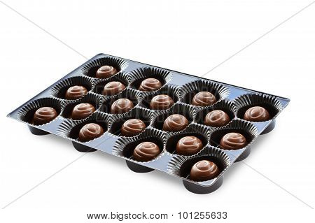 Chocolate Candies In Brown Box Isolated On White