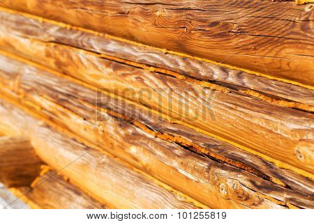 Wooden Blockhouse Background. Selective Focus. Landscape Style. Great Background Or Texture.