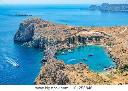 St Paul Bay. Lindos, Rhodes, Greece