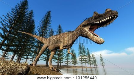 Ceratosaurus dinosaur at the shoreline - 3D render