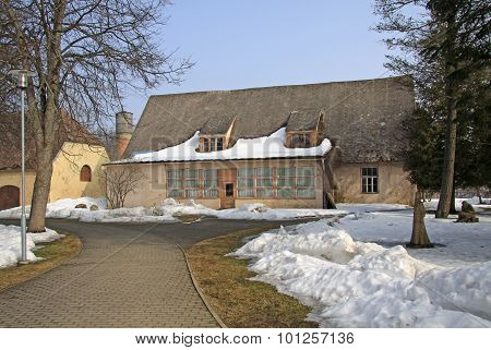 Sigulda, Latvia - March 17, 2012: Sigulda Castle Outhouse