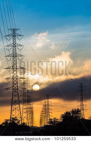 High Voltage Power Transmission Lines And Pylons