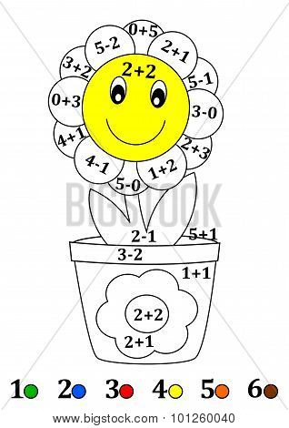 Counting With Colors For Children - A Flower Pot, Flower