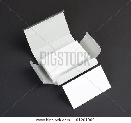 Blank Business Cards On A Gray Background