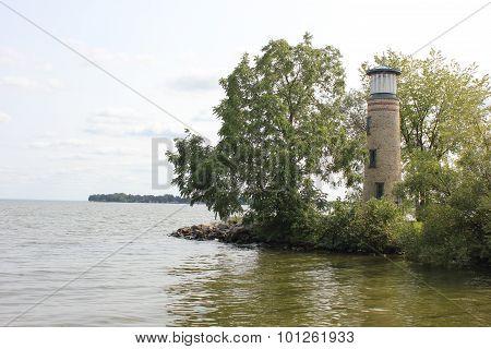 Asylum Point Lighthouse at Lake Winnebago in Wisconsin