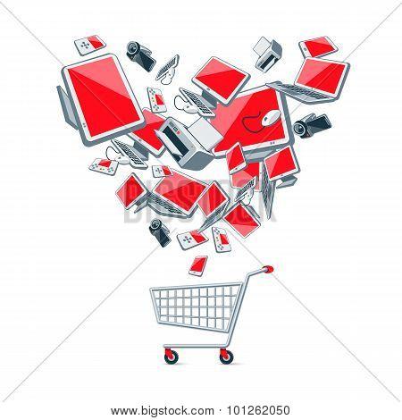 Electronics Above A Shopping Cart