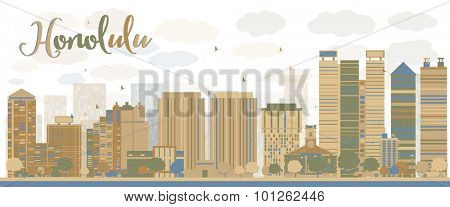 Honolulu Hawaii skyline with grey buildings and blue sky. Vector illustration