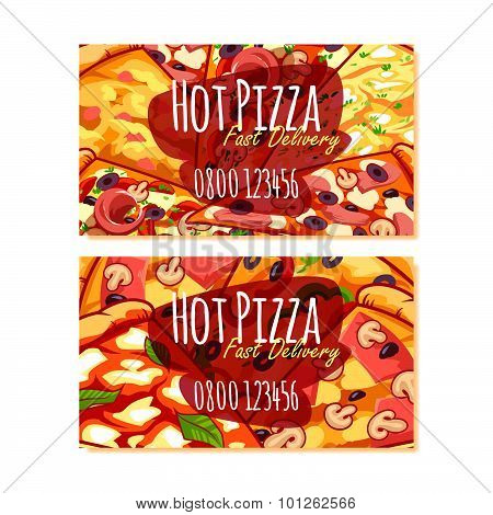 Two Business Card Template For Pizza Delivery Or Pizzerias. Vector Clip Art Illustration