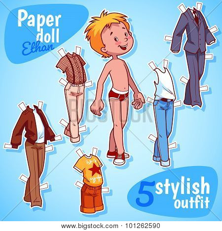 Very Cute Paper Doll With Five Stylish Outfits. Blond Boy. Vector Illustration On A White Background