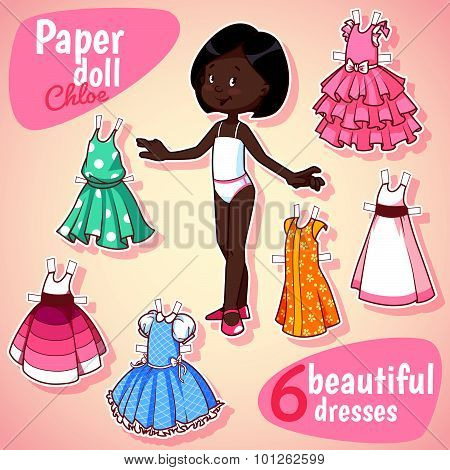 Very Cute Paper Doll With Six Beautiful Dresses. Brunet Girl. Vector Illustration On A White Backgro