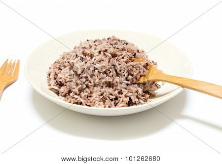 Rice Mix Purple Rice Berry Rice In White Plate