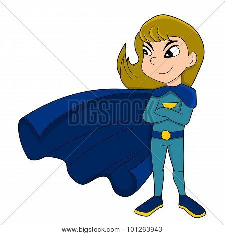 Cute Superhero Girl Cartoon