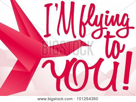 Vector Post Card Design With Red Origami Bird