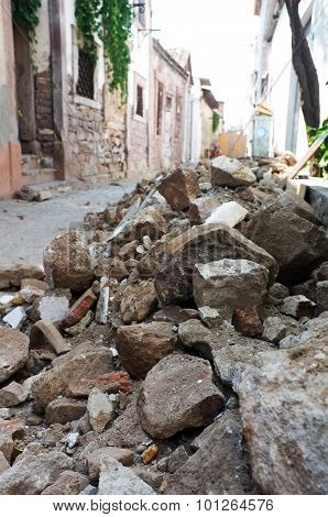 Rubble on the street