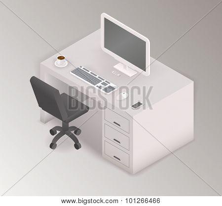 Computer desk workplace isometric 3d illustration
