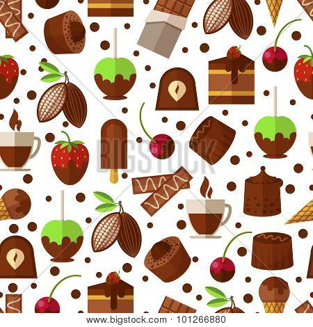 Sweets and candies, chocolate  ice cream seamless pattern background