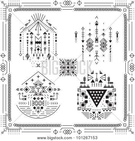 Boho tribal ethnic elements