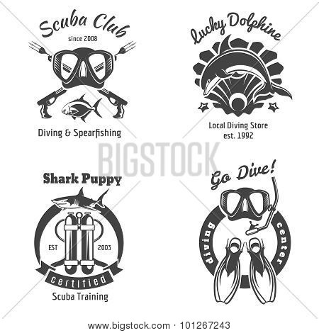 Scuba diving club labels set. Underwater swimming logos