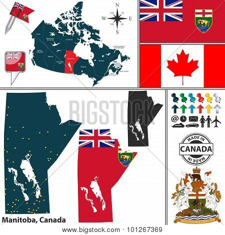 Map Of Manitoba, Canada