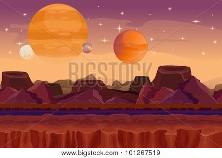 Cartoon sci-fi  game vector seamless background. Alien planet landscape