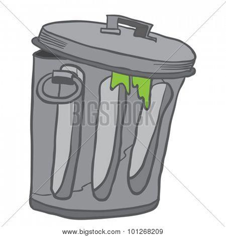 garbage can cartoon illustration