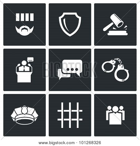 The Verdict Of The Court And Detention Vector Icons Set