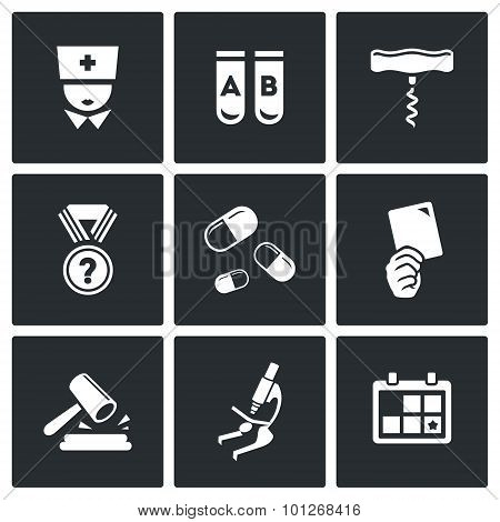 Doping Test Icon Set