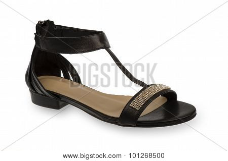 Woman black sandal isolated.