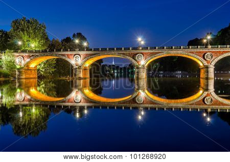 Turin Torino Ponte Isabella And River Po At Blue Hour With Mole Antonelliana In The Background