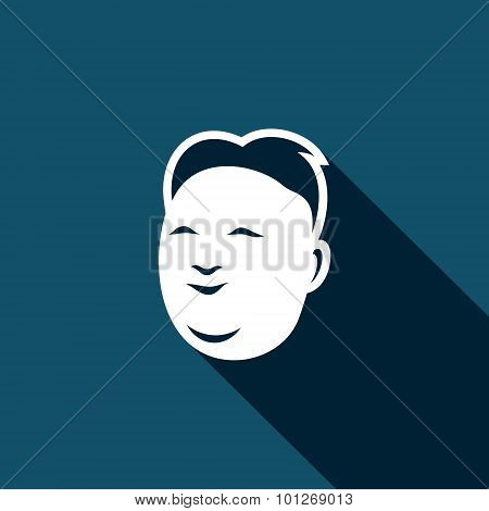 Korean Mens Head Icon . Vector Illustration