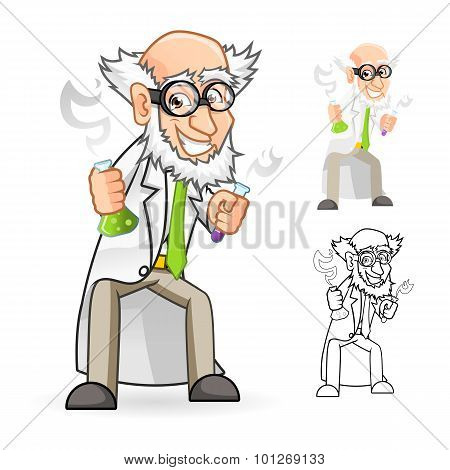 Scientist Cartoon Character Holding a Beaker and Test Tube with Feeling Great
