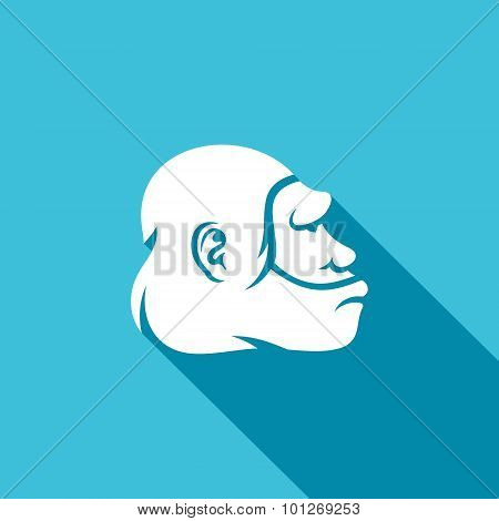 Neanderthal Man Head Icon. Vector Illustration