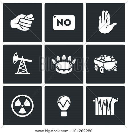 Lack Of Natural Resources, Electricity And Heat Icons. Vector Illustration