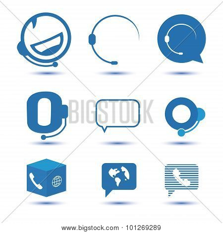 Icons for call center or hotline, support symbol in vector