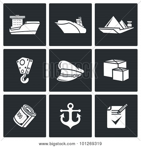 Sea Craft Icons. Vector Illustration.