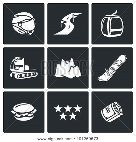 Downhill Skiing Icons. Vector Illustration.