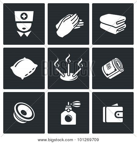Spa Icons. Vector Illustration.