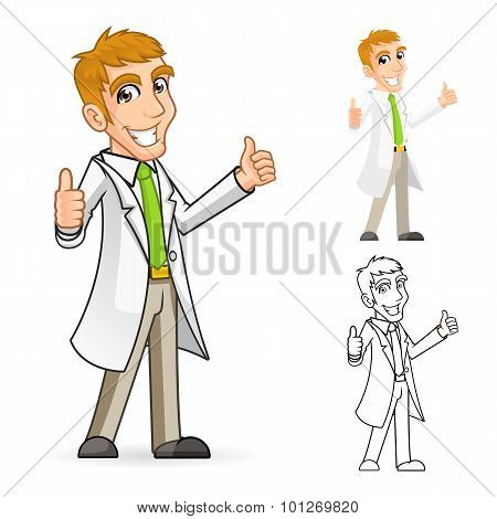 Scientist Cartoon Character with Thumbs Up Arms