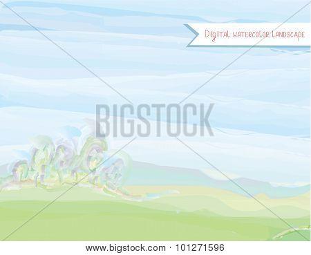 Scenic Watercolor Landscape In Watercolor Style