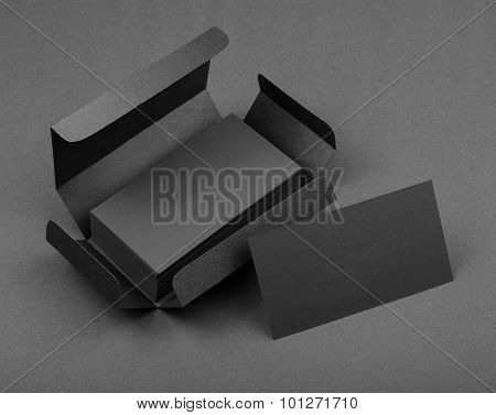 Gray Business Cards In The Gray Box.