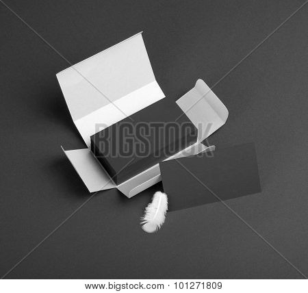 Black Business Cards In The Silvery Box.